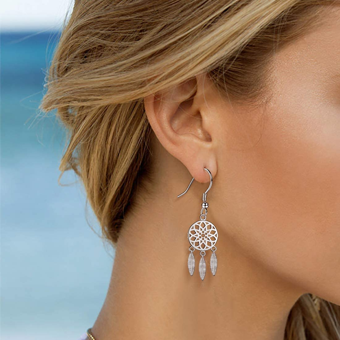 925 Sterling Silver Dreamcatcher Earrings Necklace and Jewelry Set for Women Bohemian Style