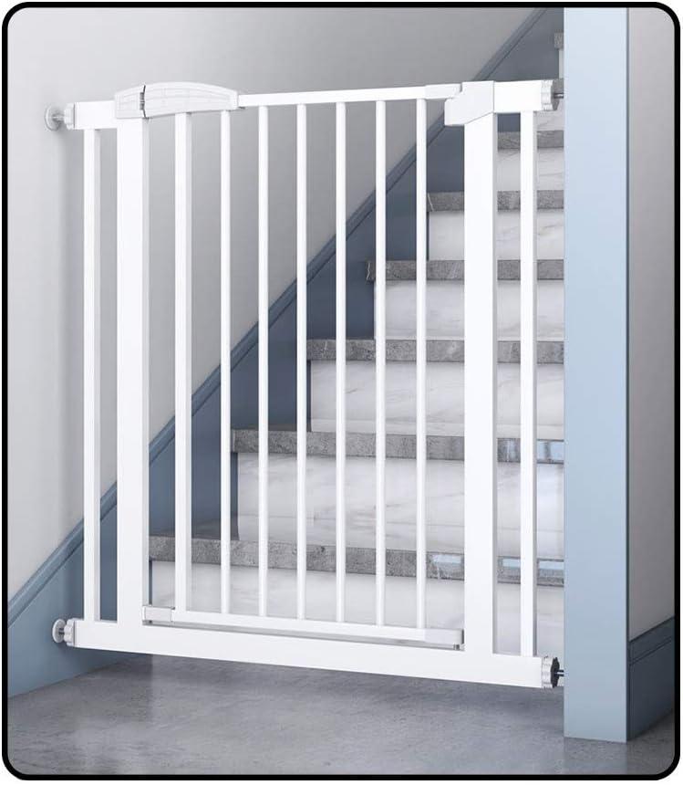 QIANDA Barrera Seguridad Niños Protector Escaleras Bebe Ajustable La Seguridad Gris Blanco Acero Extensible Arriba A 236cm Escalera Portón, Alto 80cm /100cm For Perro Grande/Pequeño: Amazon.es: Hogar