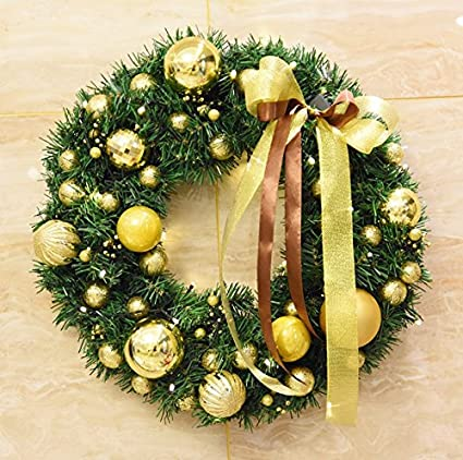 tattyakoushi 24 inch christmas wreath with gold pearl ball christmas wreath for front door