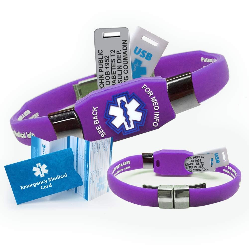 Waterproof purple silicone ELITE PLUS USB medical alert ID bracelet with 2 GB USB and custom engraving on exclusive acrylic plate includes up to 10 lines of custom engraving