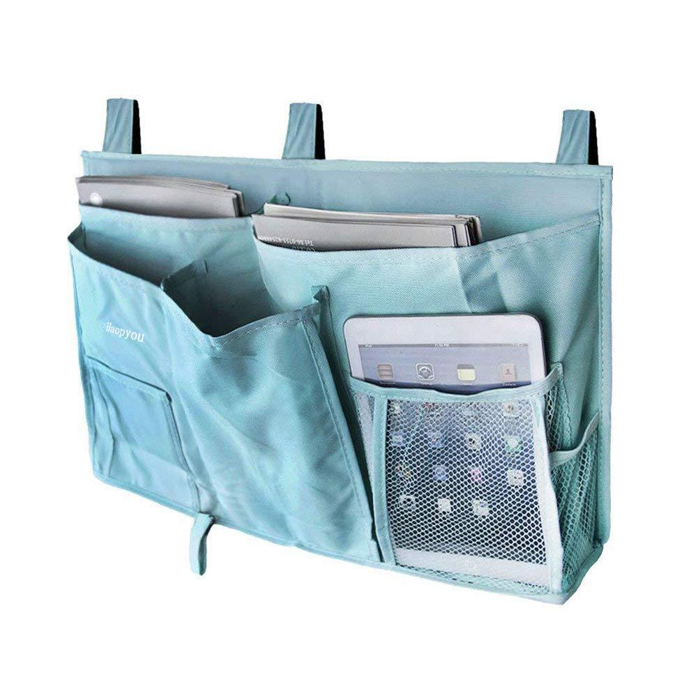 MoYag Bedside Storage Organizer, Bedside Caddy Hanging Storage Bag for Bunk and Hospital Beds, Dorm Rooms Bed Rails,Baby Bed,Baby Cart,Car Backrest with 8 Pockets(Green)
