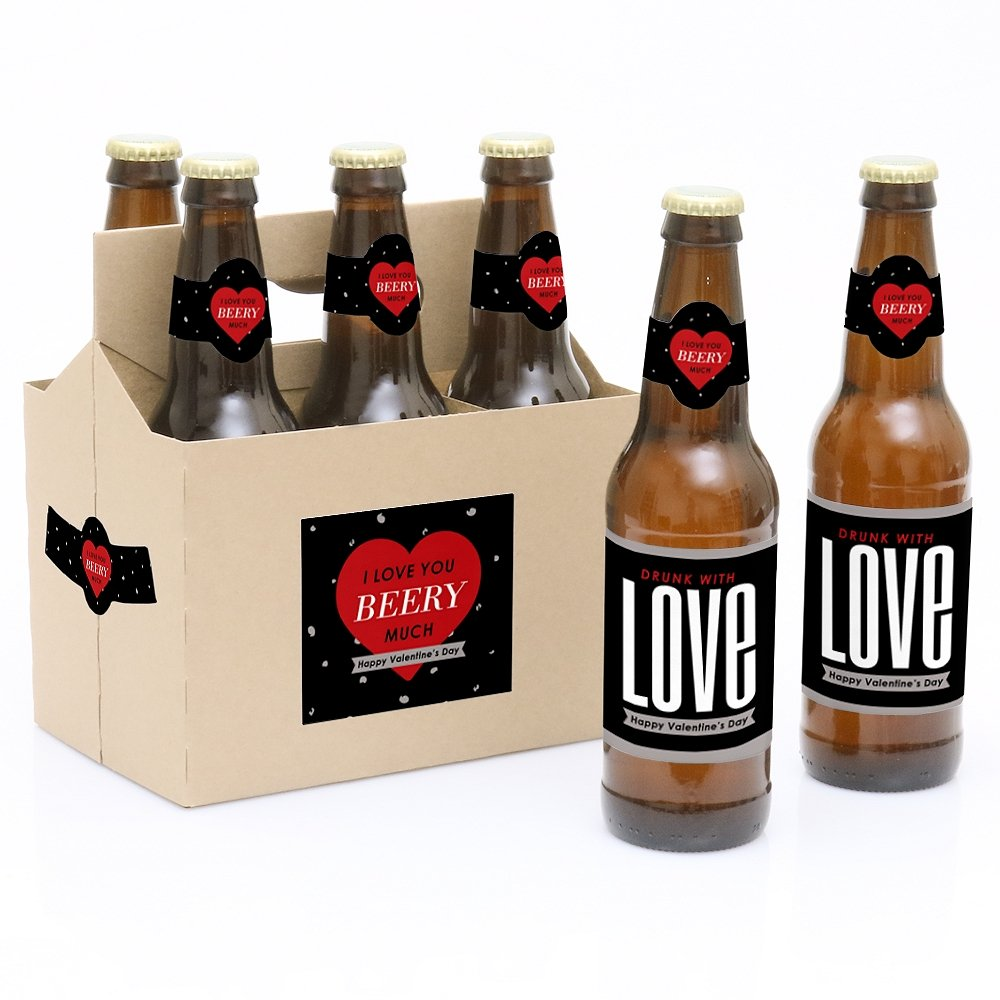 amazoncom valentines day 6 beer bottle labels with 1 beer carrier kitchen dining