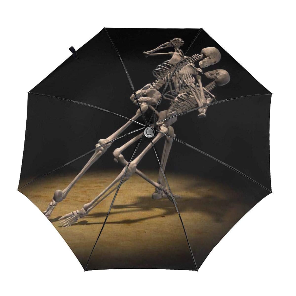 Sun Travel Umbrella UV Protection Rain Tri-Fold Umbrella Dance Skeleton, Windproof, Auto Open Close, Ergonomic Handle, Light Weight Compact & Portable Umbrellas For Women Men by Jaylon