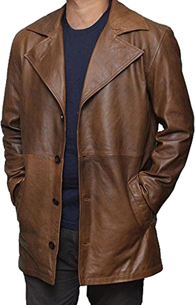 Distressed Original Leather Jacket Collection Hip Height Three Quarter /¾ Brown Men/'s Long Coat Waxed Treated