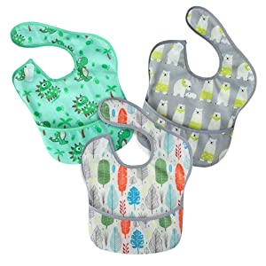 PandaEar 3 Pack Super Light Weight Baby Bib, Waterproof, Washable, Stain Oil and Odor Resistant 5-36 Months