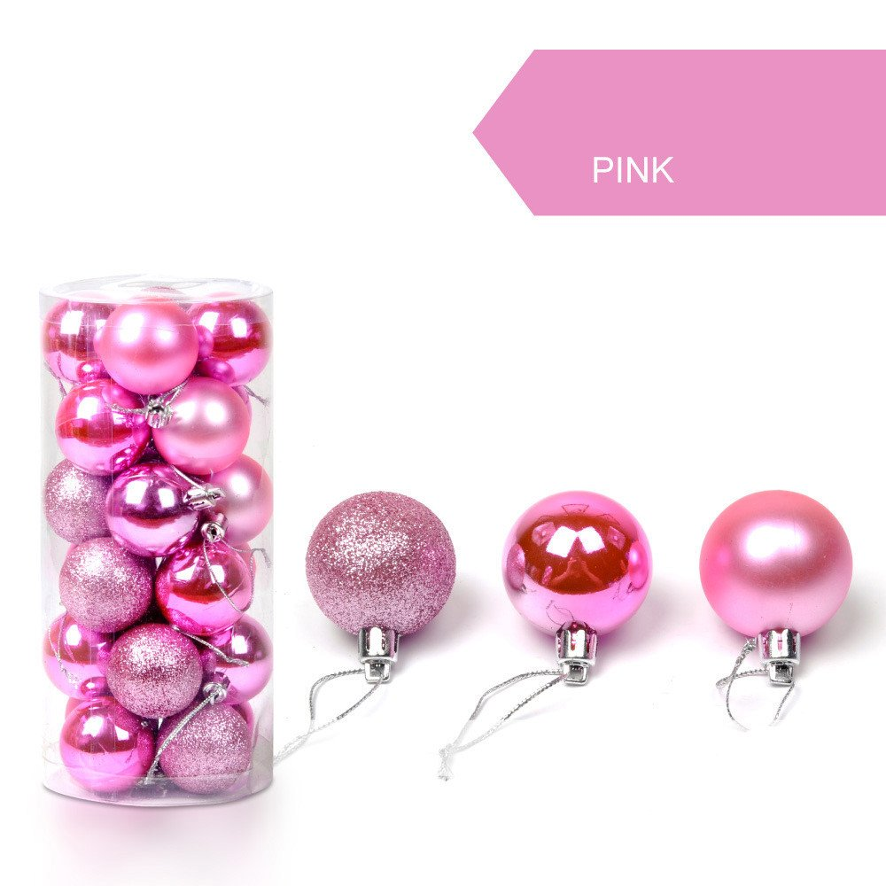 Clearance Tuscom 24Pcs/Pack 30mm Christmas Xmas Tree Ball, Glitter Baubles Balls for Home Party Ornament Decorations (12 Colors) (Pink)
