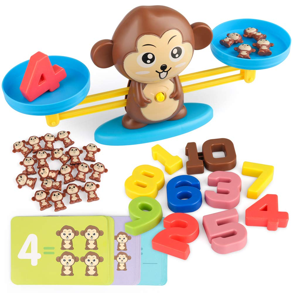 D-FantiX Monkey Balance Cool Math Game Montessori Toy Number Balance Scale Toy Kids Addition and Subtraction Counting STEM Toys for Boys Girls Age 3+ by D-FantiX
