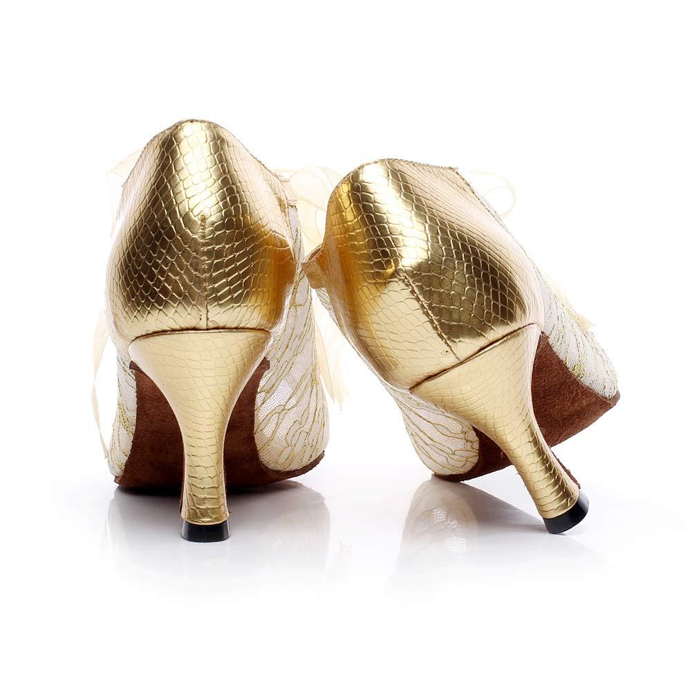 XIAOY Frauen PU Lateinische Tanzschuhe Riemchen Riemchen Riemchen Glitter Peep Toe High Heel Mesh Lace Up 704b04