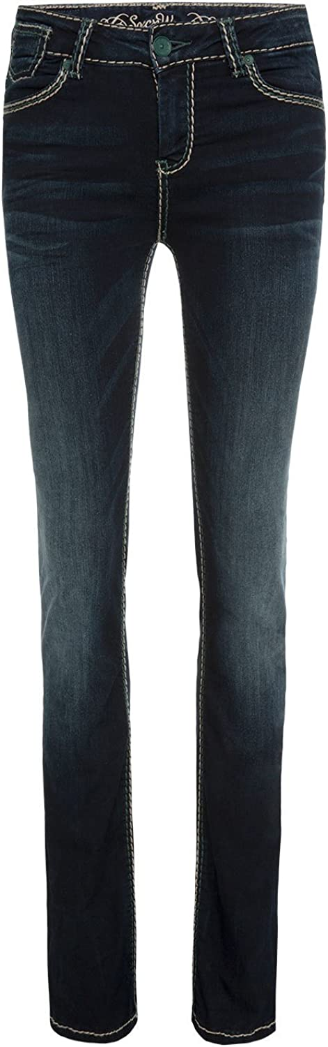SOCCX Damen Bootcut Jeans CO:LE in Blue Black Used Blue Black Used