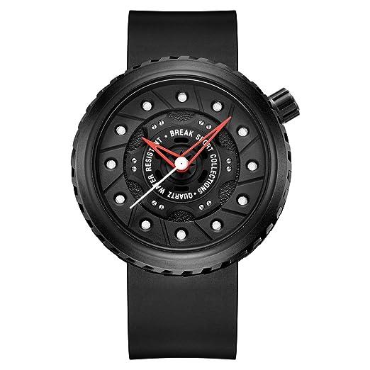 BREAK Relojes de Cuarzo único para Hombres, Reloj de Pulsera Impermeable Original Diseño Rueda del
