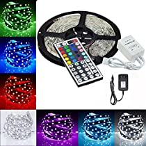 Minger Waterproof LED Strip Light 16.4ft(5m) 150leds RGB 5050 Rope Strips Lighting With 24-keys IR Remote Controller & 2A Power Supply for Home Lighting Kitchen Christmas Indoor & Outdoor Decoration