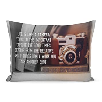 Aikul Throw Pillow Covers Sayings Saying Life is Camera Inspirational Motivational Retro Vintage Pillow Case Cushion Cover Lumbar Pillowcase ...