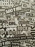 50 Sheets News Print Design Greaseproof Paper - Wrap Liner Fish Chip Shop (Fast Food/Takeaway Packaging) BRITISH FOOD SHOP (BFSGP50)