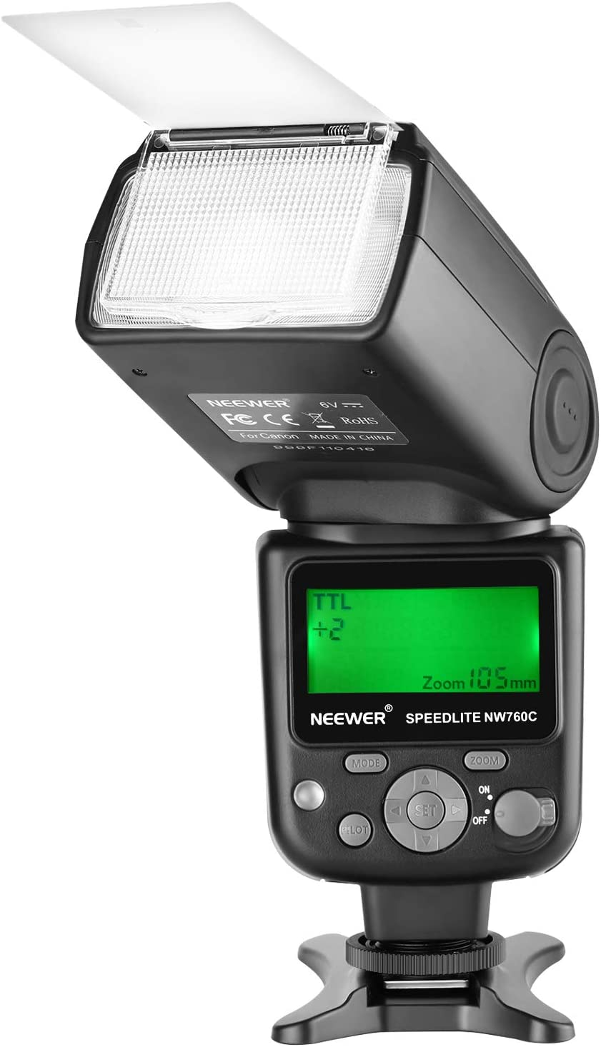 Neewer NW760 Remote TTL Flash Speedlite with LCD Display for Canon 7D Mark II, 5D Mark II III IV III IV 1300D 1200D 1100D 750D 700D 650D 600D 550D 500D 100D 80D 70D 60D and Other Canon DSLR Cameras
