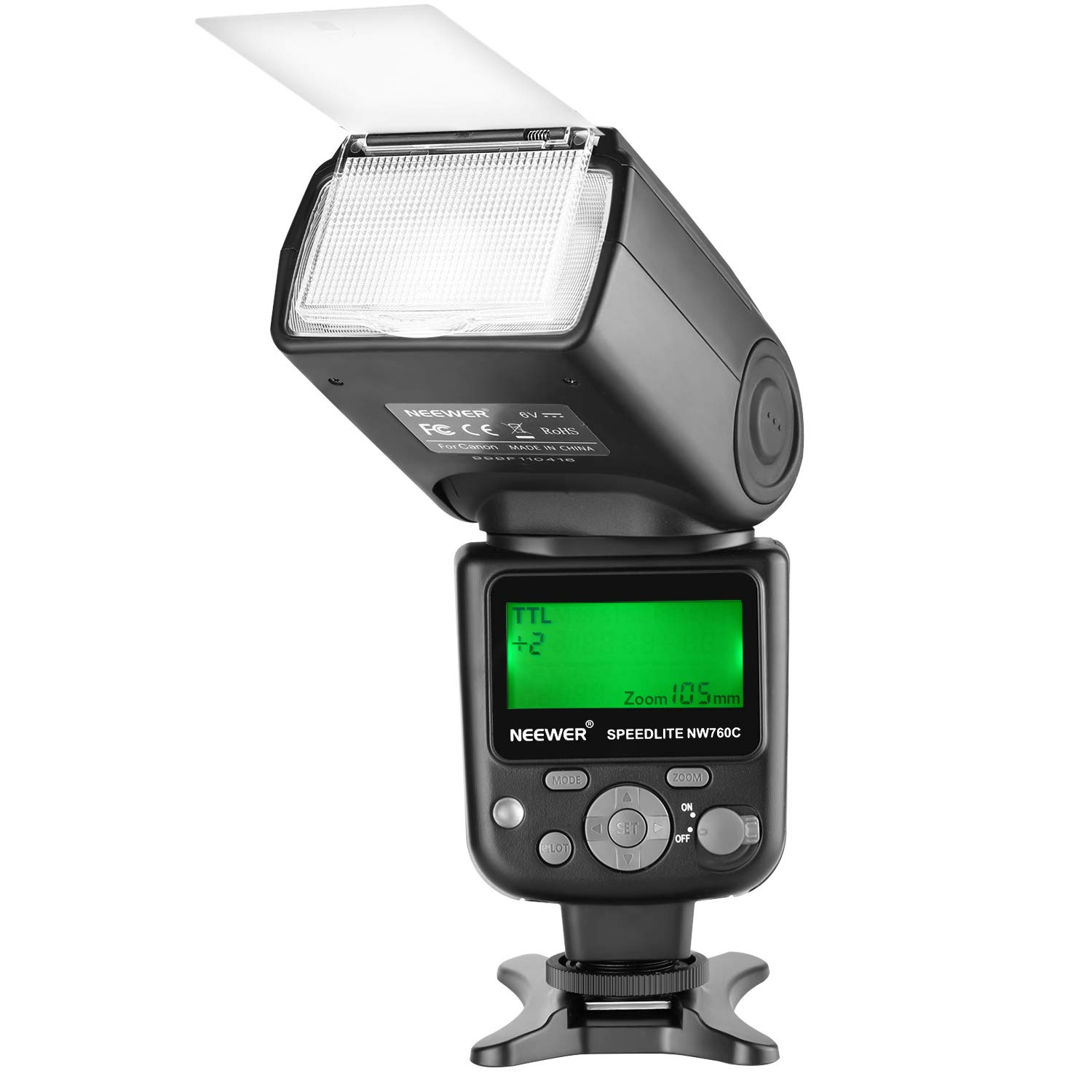 Neewer NW760 Remote TTL Flash Speedlite with LCD Display for Canon 7D Mark II, 5D Mark II III IV III IV 1300D 1200D 1100D 750D 700D 650D 600D 550D 500D 100D 80D 70D 60D and Other Canon DSLR Cameras by Neewer