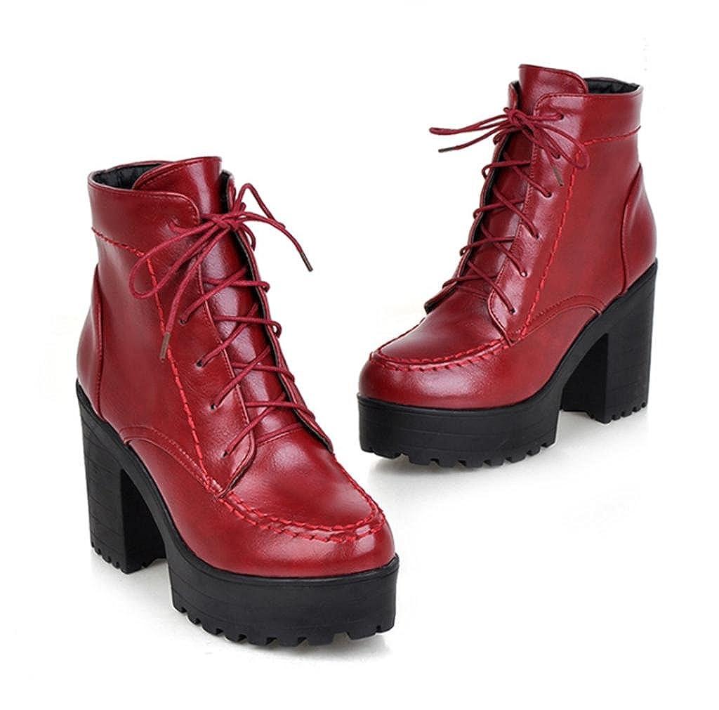 rouge 38 EU HETAO Talons de personnalité Femmes Bottes à Talons Hauts Femmes Ankle Martin bottes Lace Up Platform Party Chaussures élégantes
