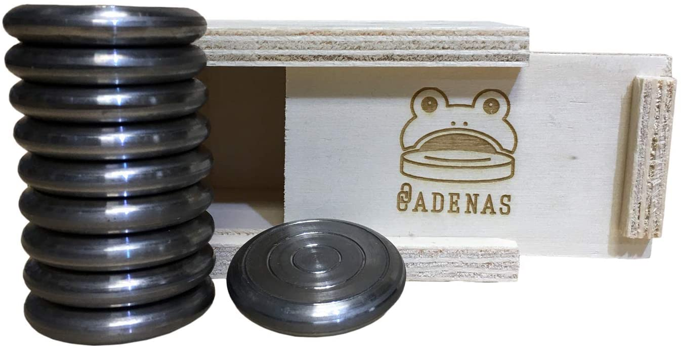 CADENAS ® - Juego de la Rana: 10 Fichas de Acero con Caja de Madera.