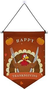 ALAZA Door Decorations, Happy Thanksgiving Turkey Bird Banner Sign Door Hanging Wall Decor 13 x 17 Inches