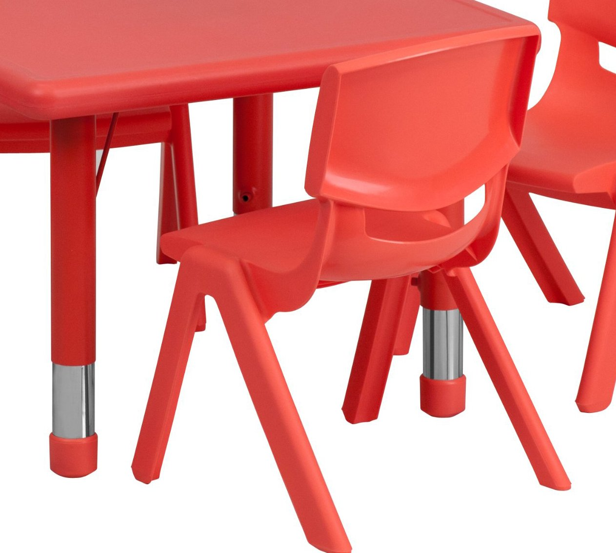 Flash Furniture 24'' Square Red Plastic Height Adjustable Activity Table Set with 4 Chairs by Flash Furniture (Image #4)