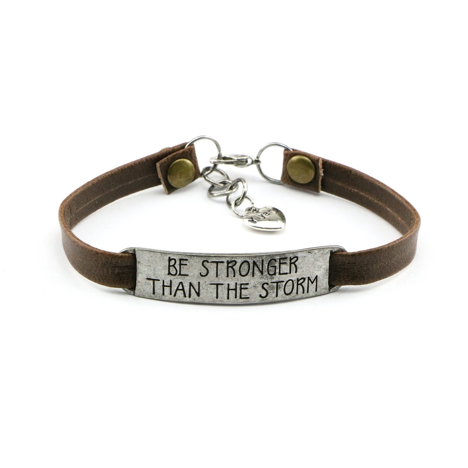 UNQJRY Inspirational Gift for Her Bracelet Brown Leather Jewelry Engraved Encouragement Quotes Be Stronger Than the Storm