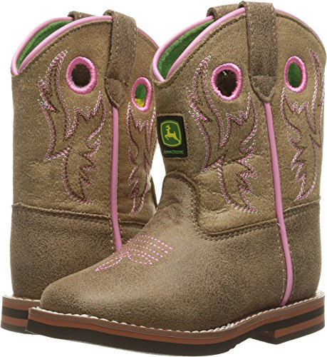 - John Deere Kids' INF Light BRN W/Pink Stitch PO Pull-On Boot, Brown, 5 M US Toddler