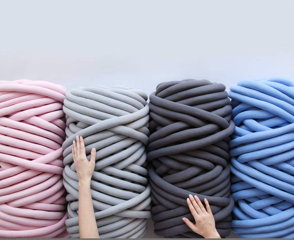 Chunky Yarn Chunky Merino Wool Yarn Super Soft Washable Super Bulky Giant Wool Yarn for Extreme Arm Knitting DIY Throw Sofa Bed Blanket Pillow Pet Bed and Bed Fence (5kg(11lbs), Dark Grey) by NXqilixiang (Image #6)