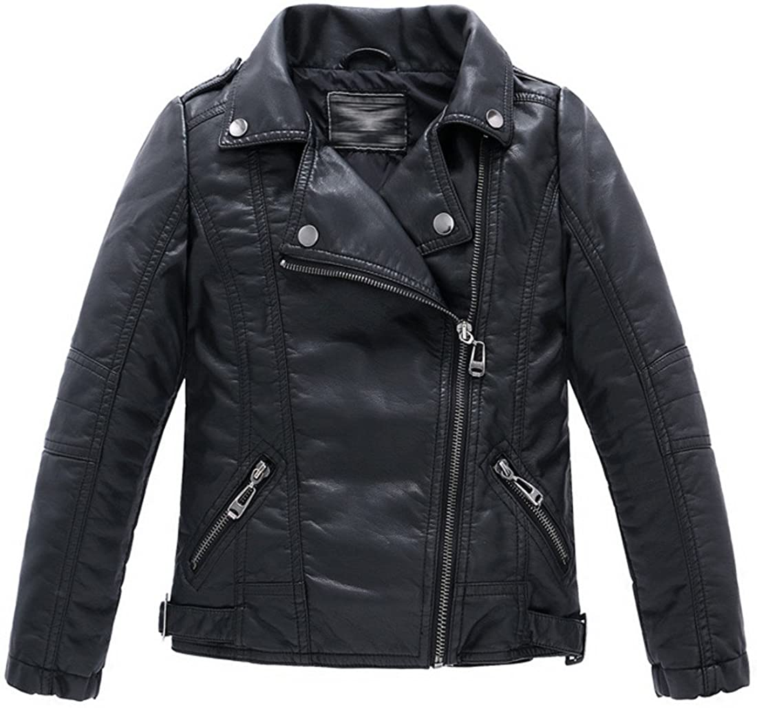LJYH Children's Collar Motorcycle Faux Leather Coat Boys Faux Leather Jacket: Clothing