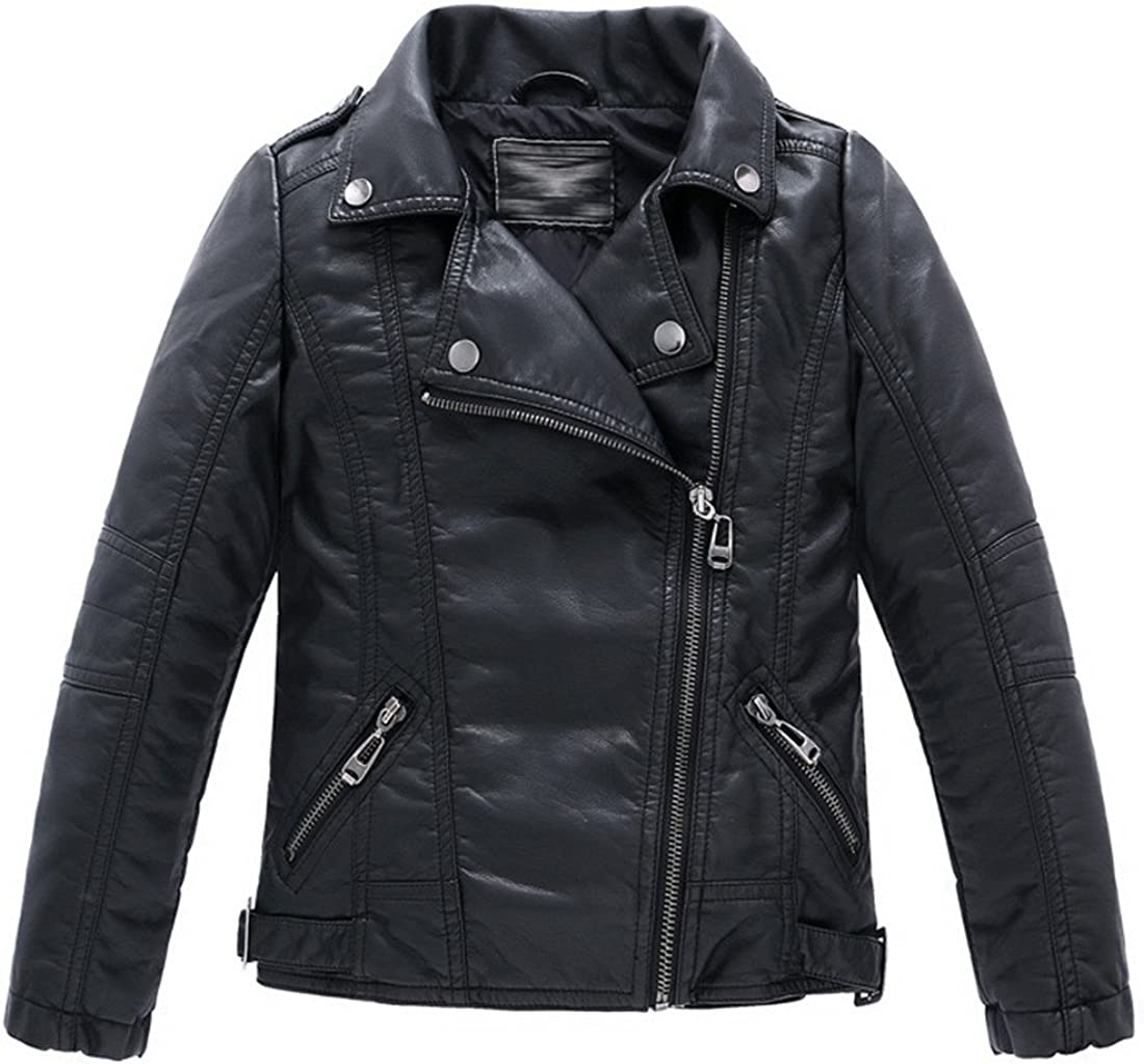 7709260357 LJYH Children's Collar Motorcycle Faux Leather Coat Boys Faux Leather Jacket 613wDZ4vMWL