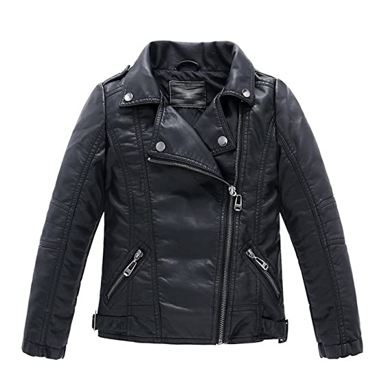 Amazon.com: LJYH Children's Collar Motorcycle Leather Coat Boys ...