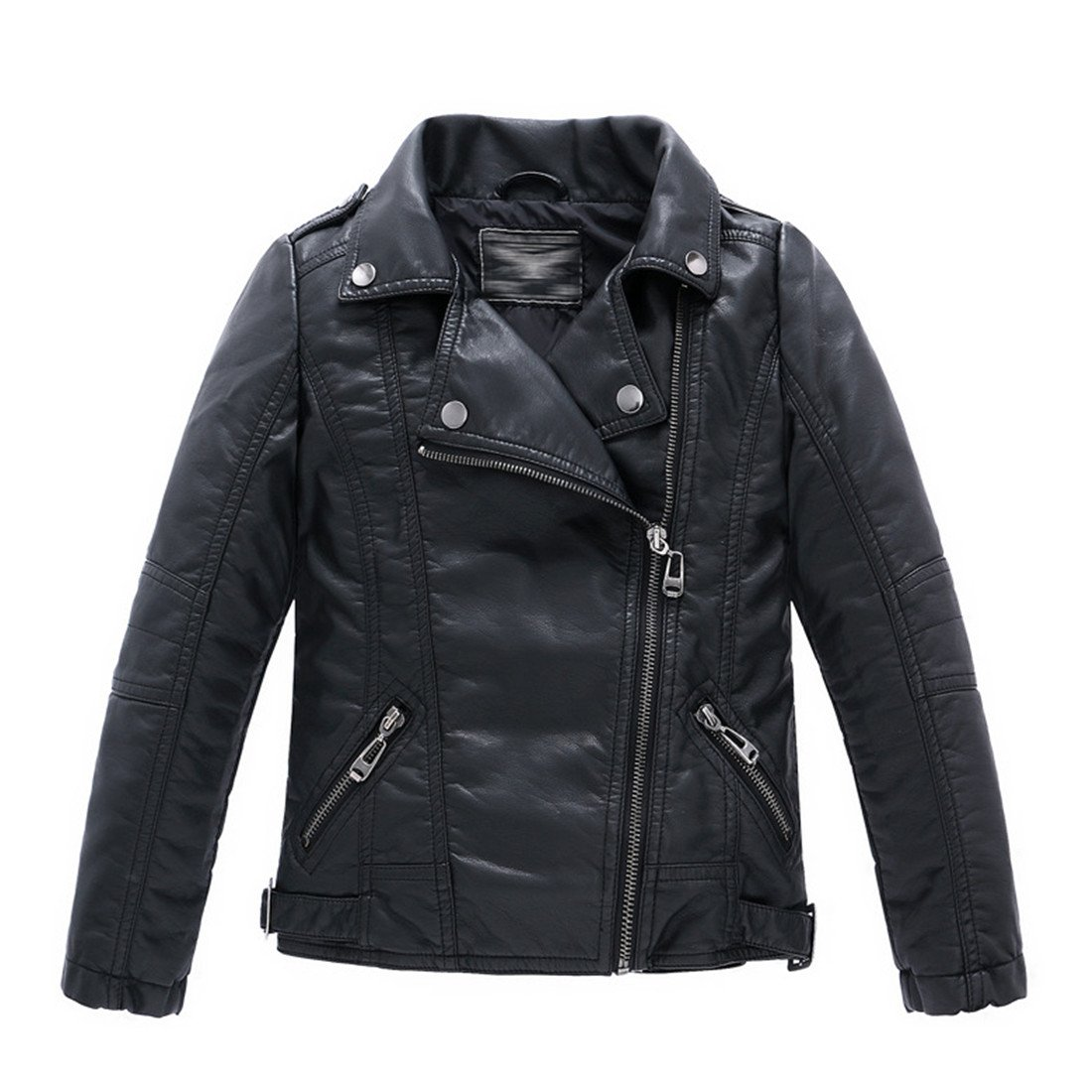 LJYH Children's Collar Motorcycle Leather Coat Boys Leather Jacket Black 7/8 (130)