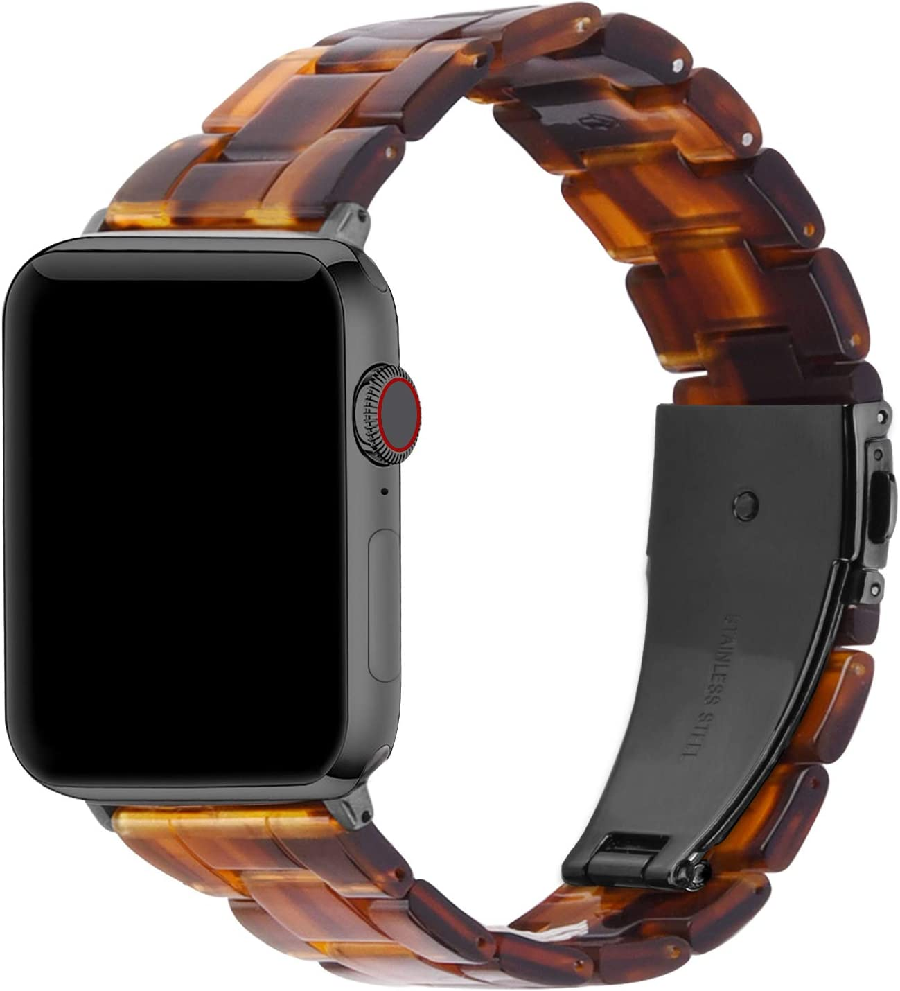 Fullmosa Compatible Apple Watch 38mm/40mm/42mm/44mm, Bright Resin Apple Watch Band for iWatch SE & Series 6/5/4/3/2/1, Hermes, Nike+, Edition, Sport, Dark Amber (Smoky Grey Hardware) 38mm
