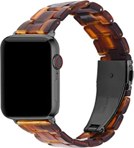 Fullmosa Compatible Apple Watch 42mm/44mm/40mm/38mm, Bright Resin Apple Watch Band for iWatch SE & Series 6/5/4/3/2/1, Hermes, Nike+, Edition, Sport, Dark Amber (Smoky Grey Hardware) 42mm