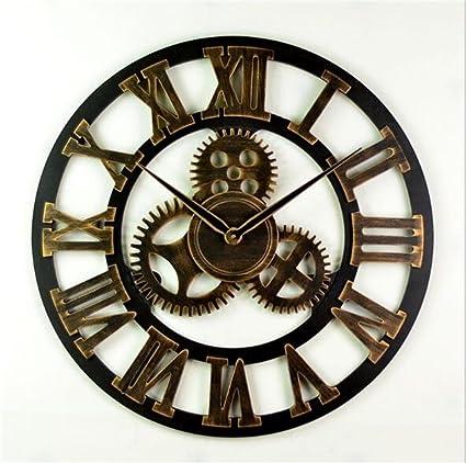 YJR-Relojes de pared Moda creativa retro Reloj de pared silencioso de la vendimia con diseño ...