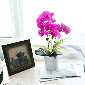 U'Artlines Artificial Orchid in White Pot Fake Phalaenopsis Flower Real Touch with Vase for Table Office Home Party Decoration (Medium, Purple)