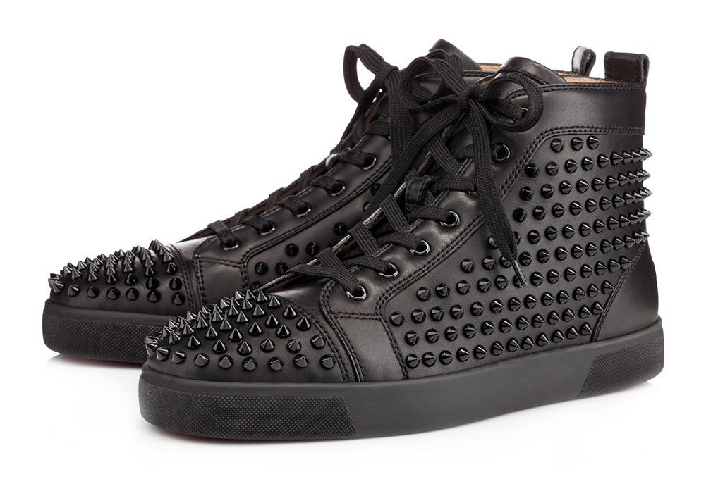 ZXD Round Toe High Top Sports Sneakers Lace up Fashion Skateboard Flats Studded Trainers Shoes Black 5.5 D(M) US Men/7 B(M) US Women