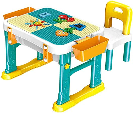 Juego de mesa de actividades para niños Mesa de madera for niños 1-6 años de edad Rompecabezas Bloques de construcción Montaje de juguetes Niñas Niños Mesa multifunción Construir y aprender tabla: Amazon.es: