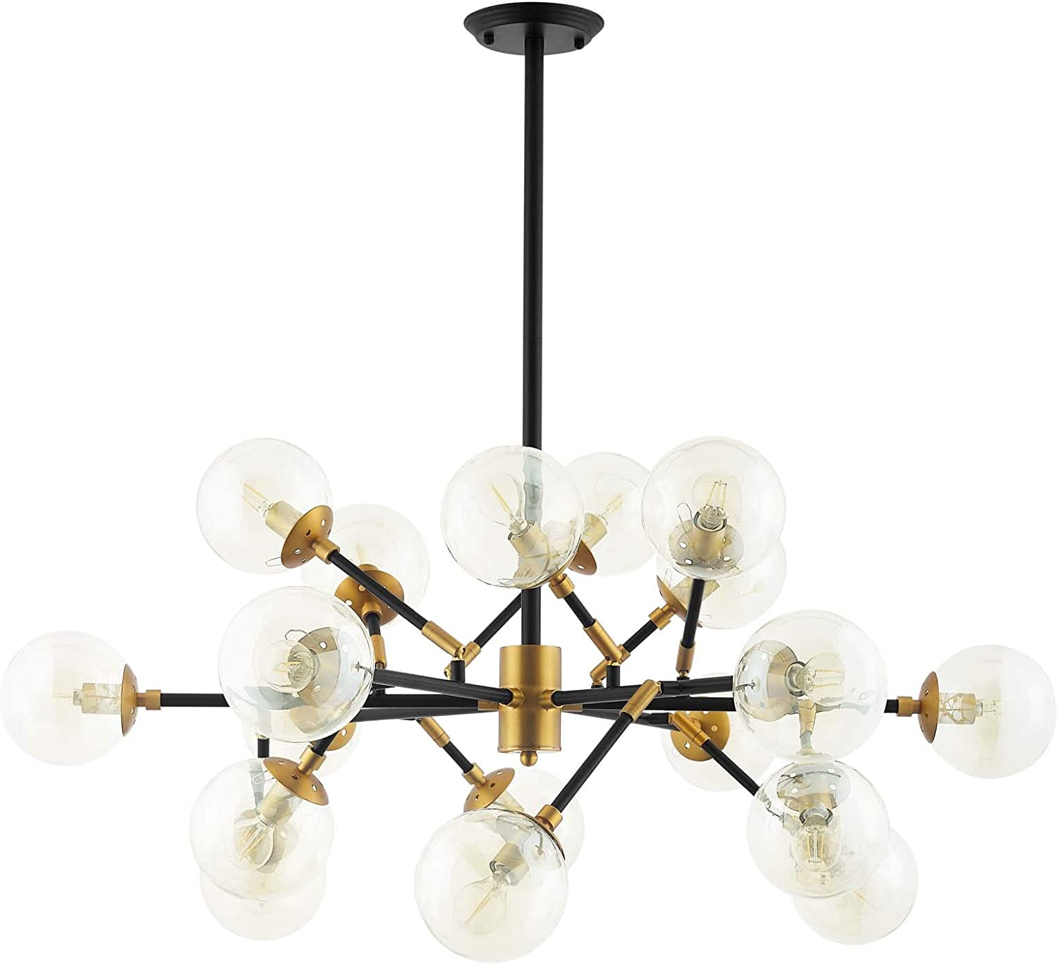 Modway Sparkle Amber Glass And Antique Brass 18 Lights Mid Century Pendant Chandelier