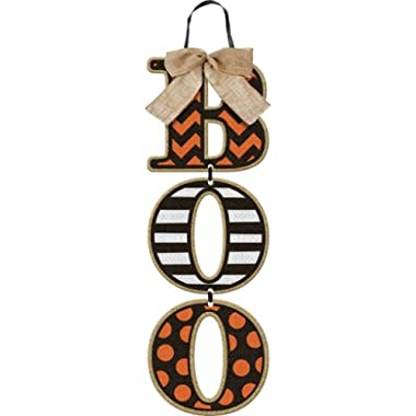 Boo  Halloween Wall Sign - Hanging Wood Letters with Burlap Bow - 18 Inches Long