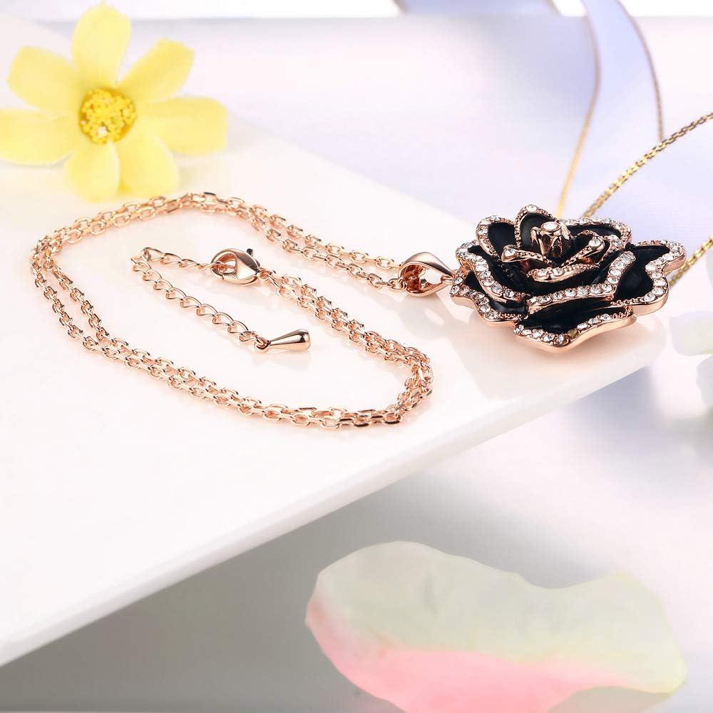 rose gold necklace Rose pendant necklace stone pendant necklace