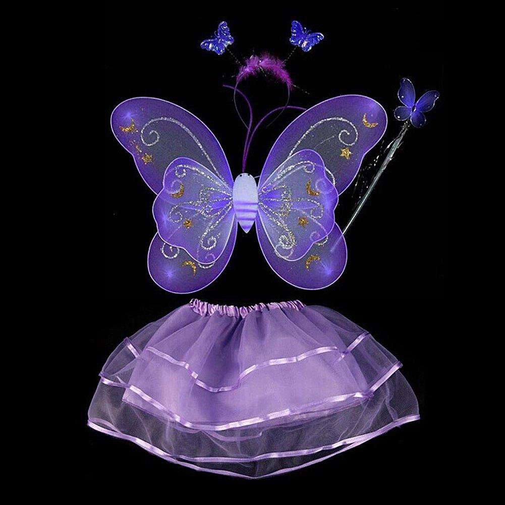 Miyanuby Ali per Costume da Fatina Costume Farfalla per Bambina Ali di Fata Ali di Farfalla Vestire Costume Party di Halloween Set di 4 Pezzi per Bambina e beb/é