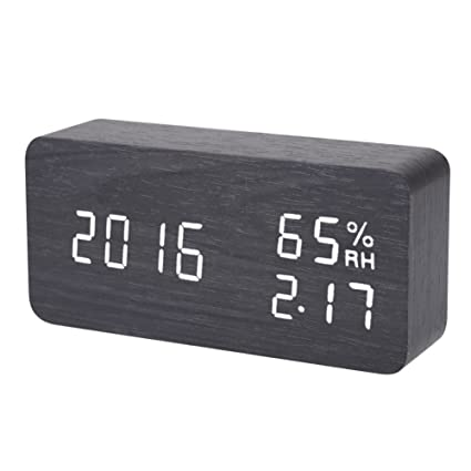 Amazon.com: BoxCave Digital Alarm Clock, LED Wooden Alarm Clock with Time Temperature Humidity Display, Voice Activated & 3 Levels Adjustable Brightness ...