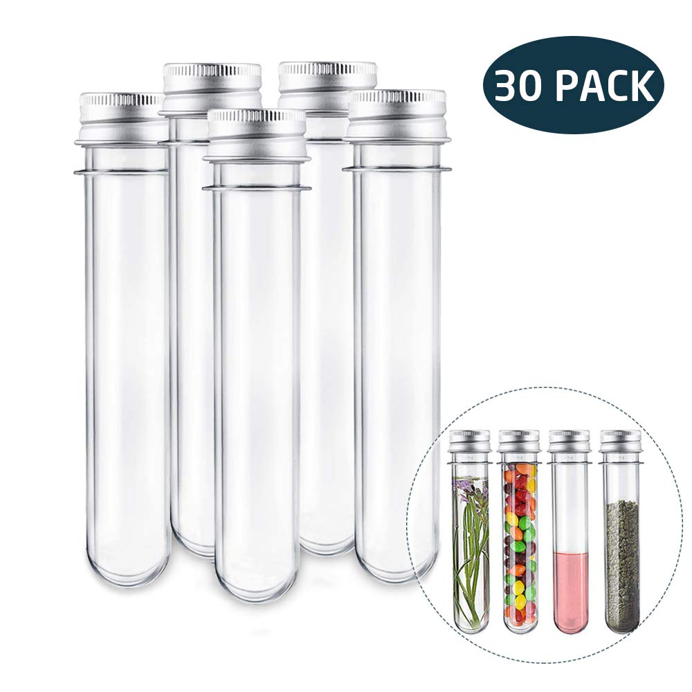Test Tubes 30pcs, Acrux7 25x140mm(45ml) Clear Plastic Test Tubes with Screw Caps for Science Experiment Party Decoration  Birthday  Bath Salt Beads Candy Tubes Plastic Vials by Acrux7