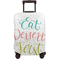 Travel Luggage Cover,Cursive Calligraphy With Colorful Splashed Dots Suitcase Protector