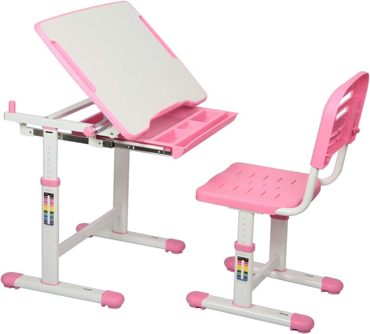 Diroan Kids Multifunctional Desk and Chair Set Height Adjustable Children School Study Desk with Tilt Desktop Pink Metal Hook and Storage Drawer for Boys Girls