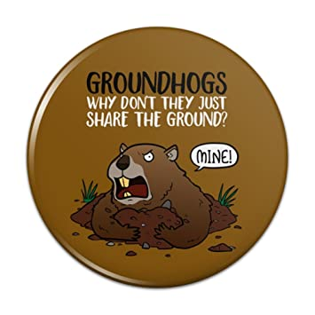 Groundhog Wont Share Funny Compact Pocket Purse Hand Cosmetic Makeup Mirror