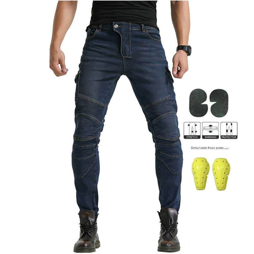 Jeans In Denim Per Motociclismo Con Armatura E 4 Ginocchiere Army Green,M Per Uomo LINGKY Pantaloni Da Moto