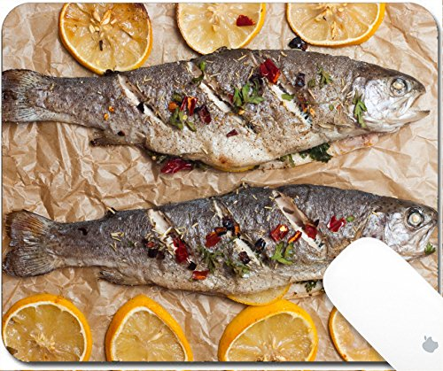 Luxlady Mouse Pad Natural Rubber Mousepad 9.25in X 7.25in IMAGE: 43639709 Roasted trout with lemon chili and parsley