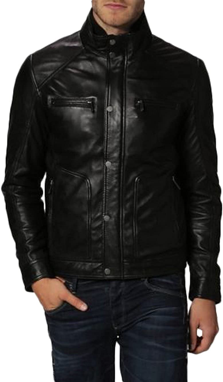 Men Leather Jacket New Soft Lambskin Slim Biker Bomber Coat T1386