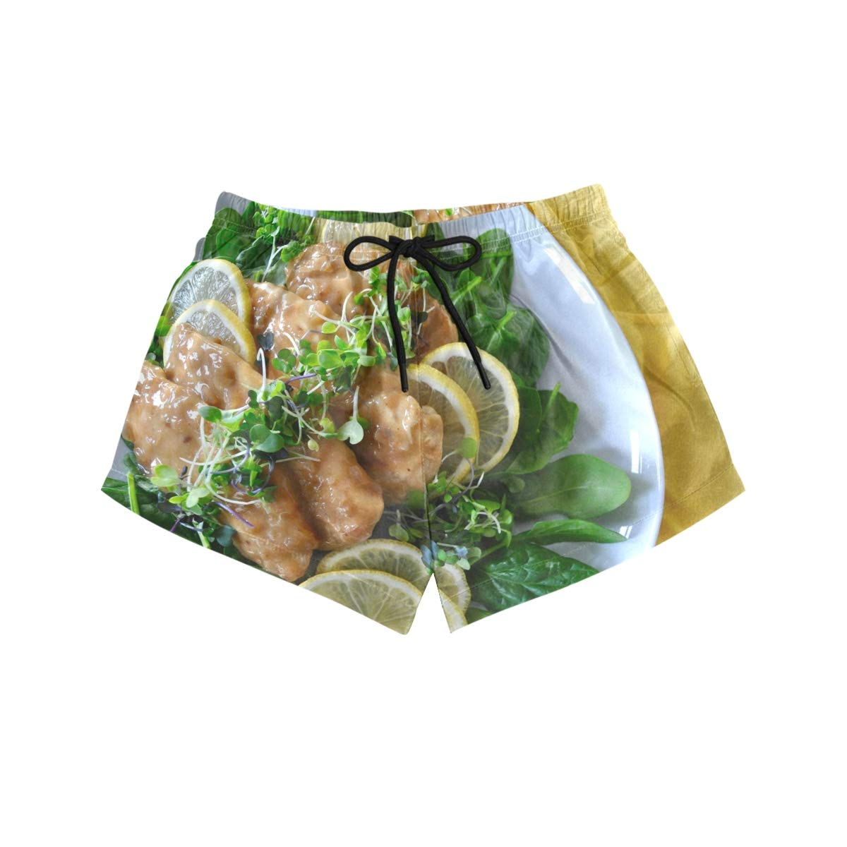 NWTSPY Unspecified 1 Chicken Entree Recipes Sofa Lemon Womens Sport Beach Swim Shorts Board Shorts Swimsuit with Mesh Lining