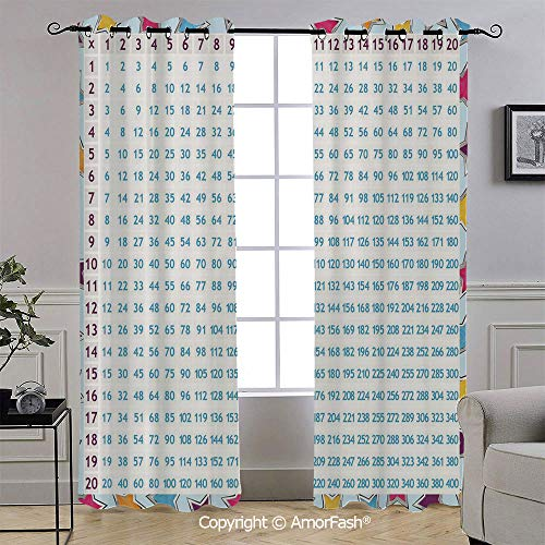 AmorFash Educational Decorative Curtains Thermal Insulated Light Blocking Curtain Panels for Bedroom,52x96 Inch,Chart with Blue Numbers on Colorful Stars Background Calculation Math Counting